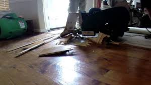 removing hardwood floor with a floor scraper