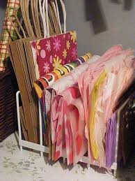how to store wrapping paper and gift bags best 25 gift bag storage ideas on gift wrap storage