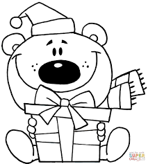 christmas bear coloring page free printable coloring pages