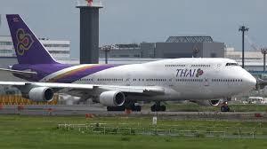 thai airways boeing 747 400 hs tgo takeoff from nrt 16r youtube