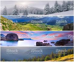 set of the 4 seasons landscape for banners stock photo 177143179