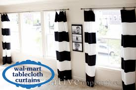 Black And White Stripe Curtains 108 Broad Striped Curtain Panels Made From Tablecloths 6 Per