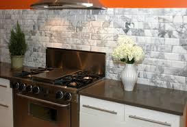 brown and white kitchen cabinets kitchen glossy white subway ceramic tiles backsplash brown