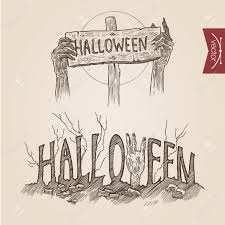 halloween web template halloween zombie party hands posters handdrawn engraving style