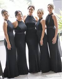 black bridesmaid dresses satin mermaid black bridesmaid dresses 2017 halter sleeveless