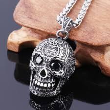 skull pendant necklace images Skull pendant mens stainless steel large sugar skull pendant jpg
