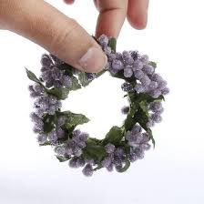 flower candle rings iced purple and lavender pip berry candle ring pip berries