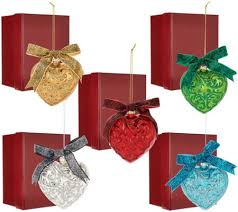 set of 5 embossed ornaments with gift boxes by valerie