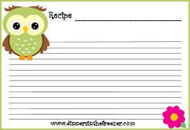 freebie adorable owl printable recipe cards www