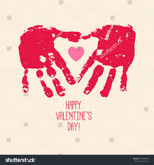 valentines day abstract background handprint heart stock vector