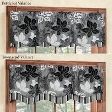 Black And White Valance Maple Leaf Platinum Gray Layered Window Valance