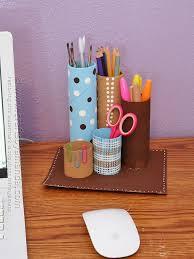 How To Make A Cardboard Desk Recycled Cardboard Tube Desk Caddy Crafts By Amanda