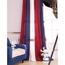 american country style stripe thermal curtains in red and white