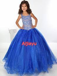 new beautiful blue size 10 12 14 girls pageant dresses organza