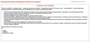 hr manager work experience certificate