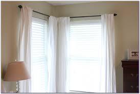corner bay window curtain rods curtain home decorating ideas corner window curtain rod set