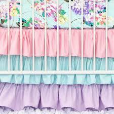 Pink And Teal Crib Bedding by Holly U0027s Hydrangea Bumperless Crib Bedding Caden Lane