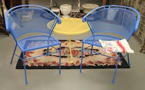 found in ithaca cornflower blue vintage patio chairs sold