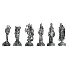 pewter and glass medieval knights chess set