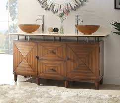 dark brown real wood vanity with stoage drawers wall lamps mirror