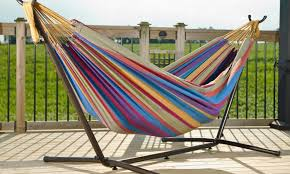 39 off on 9 ft double hammock with stand groupon goods