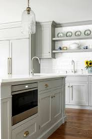 microwave in kitchen island custom kitchen with gray cabinets home bunch interior design ideas