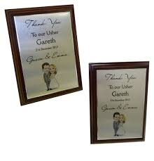 wedding gift message trophy thank you plaque metal mahogany best ushers