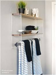 White Wooden Shelves by Bathroom White Wood Bathroom Shelf With Towel Bar Magnificent