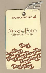 Cathay Pacific Route Map by Cathay Pacific Marco Polo Business Class Bag Tag Vintage