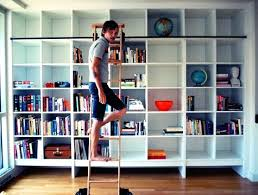 Usa Bookcase Bookcase Library Bookshelf With Rolling Ladder Empty Residential