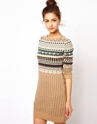 fair isle sweater dress lyst moschino fairisle mini jumper dress