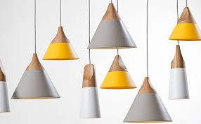 Cool Pendant Lights Grey And Yellow Lights Steel And Wood Combined To Create Cool