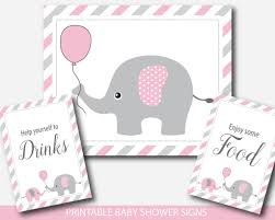 baby shower sign pink elephant baby shower table signs bundle gift table take a