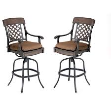 Bar Height Swivel Patio Chairs Shop Garden Treasures Set Of 2 Herrington Aluminum Swivel Patio