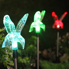 changing hummingbird garden stake light set of three 3