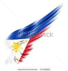flag philippines on wing white background stock illustration