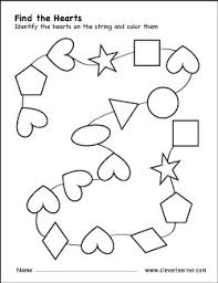 free heart shape activity worksheets for preschool children