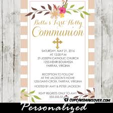 holy communion invitations beige stripes floral communion invitation personalized