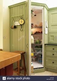 walk in chilled larder pantry set in green kitchen unit stock
