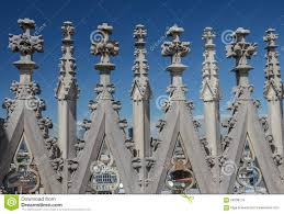 Roof Decorations Decorations At The Roof Of Milan Cathedral Duomo Di Milano Stock