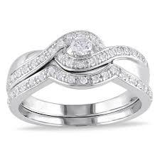 overstock wedding ring sets miadora sterling silver 1 3ct tdw diamond bridal ring set h i i2