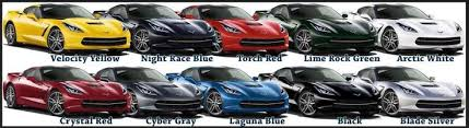 2014 corvette colors c7 corvette stingray color chart a rainbow of awesome if you