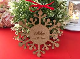 laser cut wood snowflake ornaments personalised tag christmas