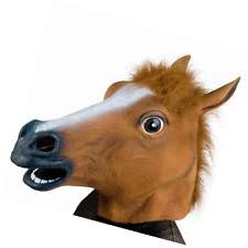 horse animal latex head mask halloween costume party looking funny