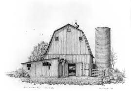 drawn countyside old barn pencil and in color drawn countyside