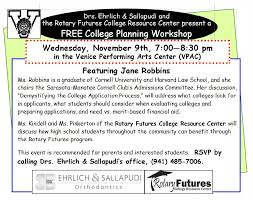 nov 9th college planning workshop rotary futures