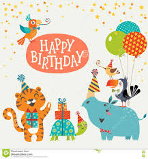 Jungle Birthday Card Cute Jungle Animals Happy Birthday Card Stock Vector Image 72860258
