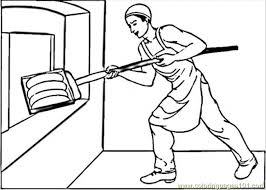 Putting Bread In Oven Coloring Page Free Profession Coloring Bread Coloring Page