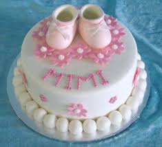 baby christening cake with baby shoes cake toppers jpg hi res