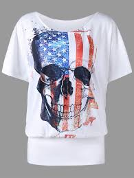 American Flag Skull Plus Size American Flag Skull Print T Shirt White Xl In Plus